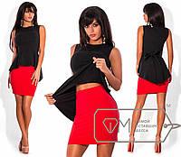 800366fb59b Двухцветный костюм - облегающая мини-юбка и топ из бенгалина без рукавов с  баской и