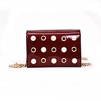 Бордовая сумка с жемчугом, фото 1