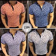 Мужская брендовая футболка поло 2018 с цветочным принтом - Маки