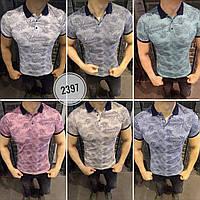 Мужская брендовая футболка поло 2018 с принтом - Пальмовые листья
