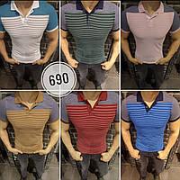 Мужская брендовая футболка поло 2018 в полоску - арт 690