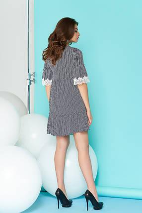 Легкое платье свободное с рюшами мини рукав до локтя серое, фото 2