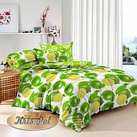 Двуспальный комплект постельного белья евро 200*220 сатин (9728) TM КРИСПОЛ Украина