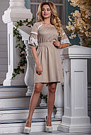 Красиве коттоновое плаття з поясом з мереживом на рукавах 44-50 розміру, фото 1
