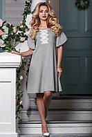 Ніжне плаття з котону вільного крою з мереживною вставкою 44-50 розміру, фото 1