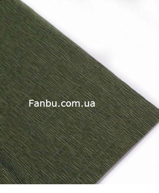 "Креп бумага,цвет""зеленый оливковый от Тиффани Тернер"" №17 А/8(рулон 2.5м*0.5м)"