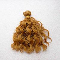 Волосы для кукол озорные кудри в трессах, теплый русый - 15 см