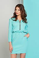 Легкое платье мини на резинке полу облегающее с карманами и змейкой бирюзовое