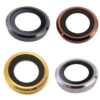 Стекло камеры для iPhone 6, черное + кольцо