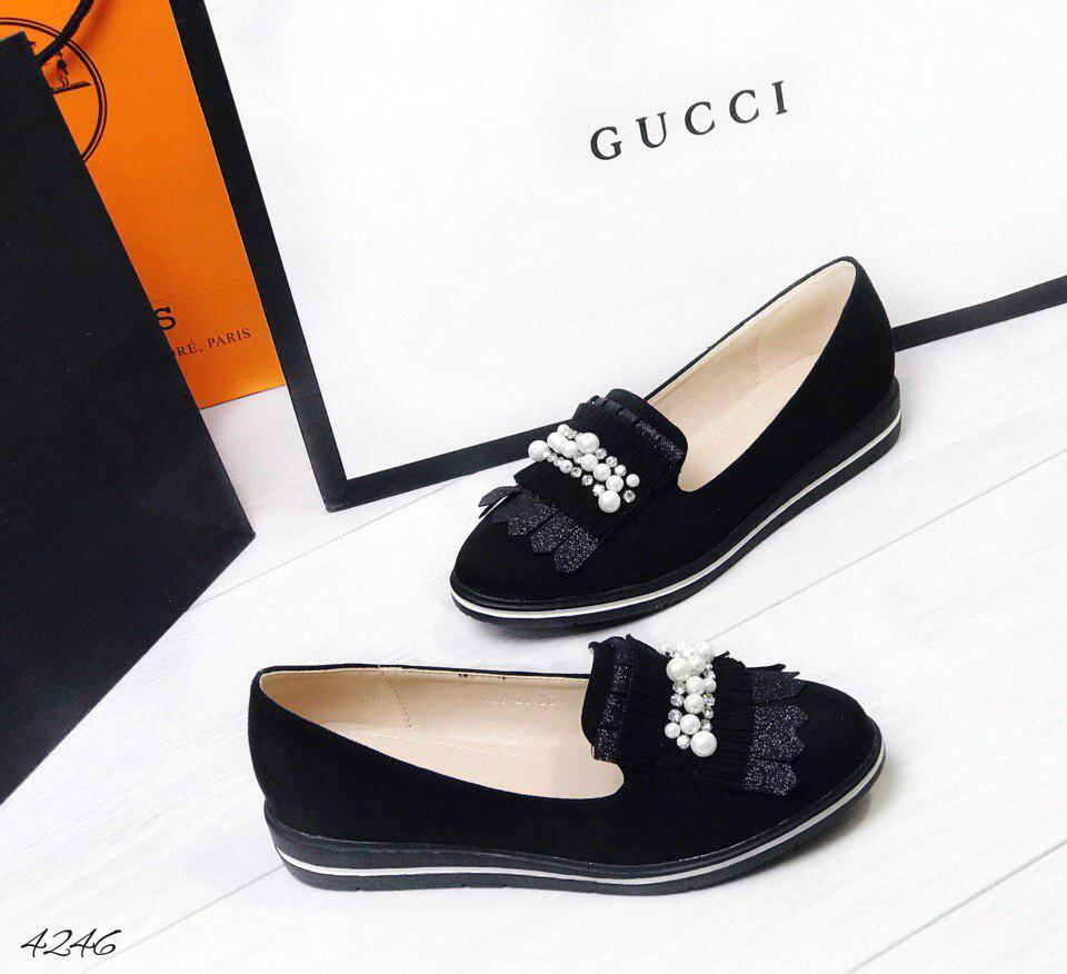 Туфли лоферы жемчуг (камни) черные