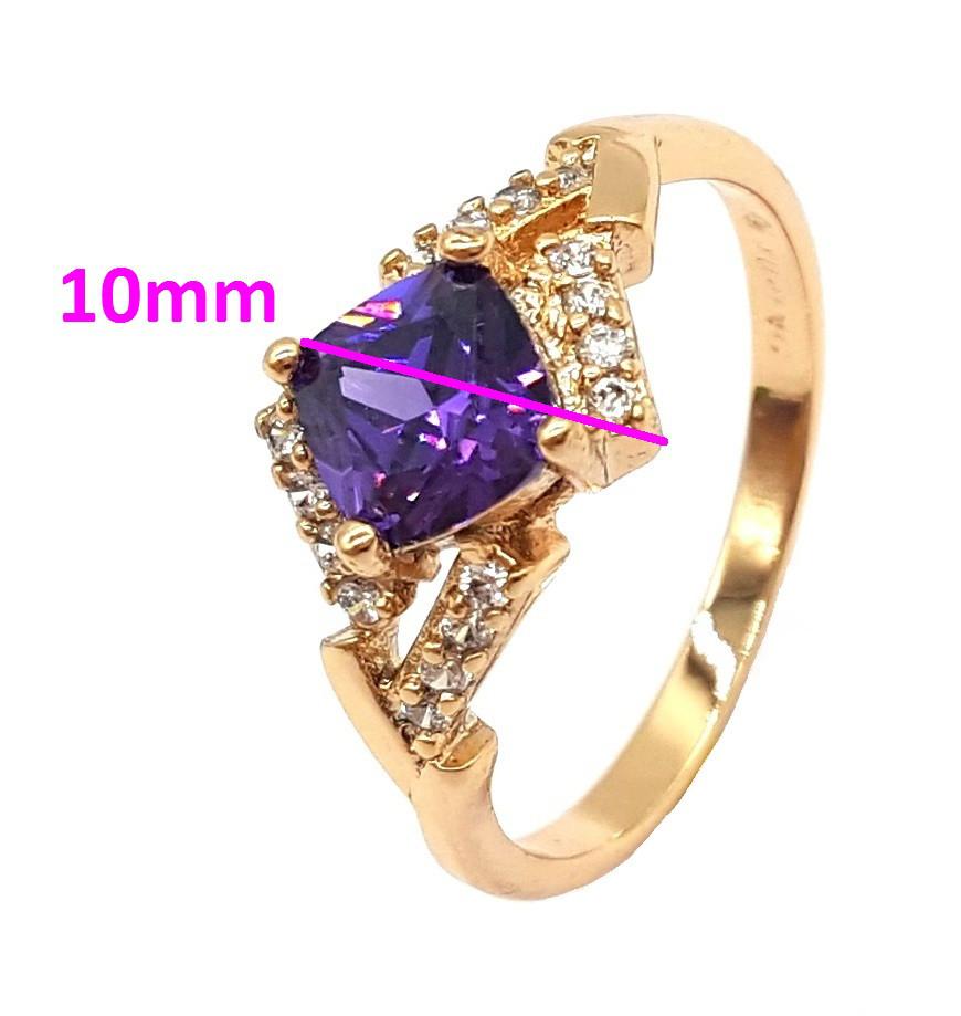 Кольцо позолоченное с фиолетовым цирконием,  р.18,5