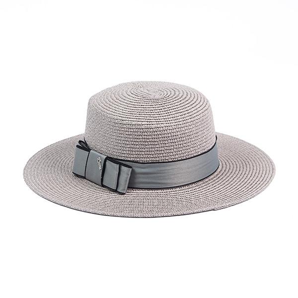 Женская шляпка канотье из соломки цвет серый