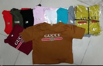 Молодежная футболка с прорезями и логотипом GUCCI, фото 2
