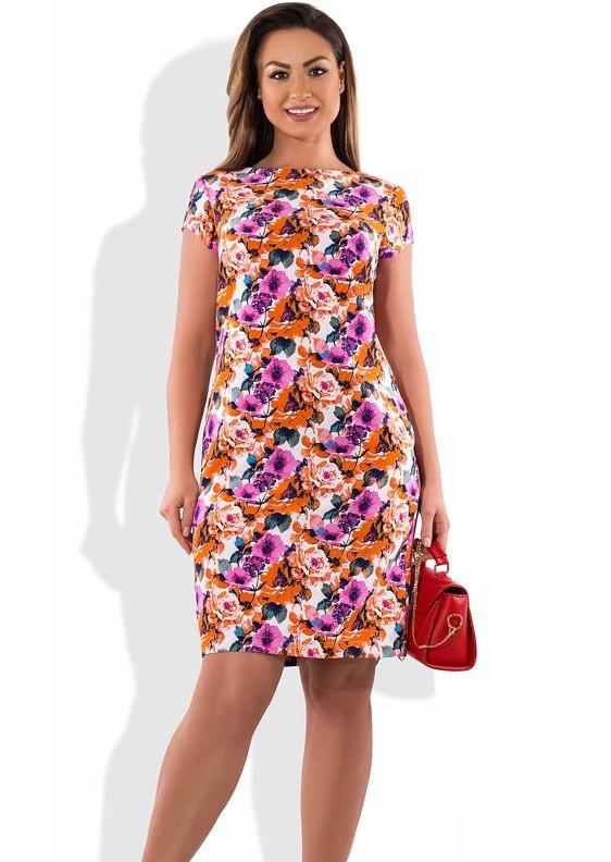 82674582865d931 Летнее Платье Миди с Оранжевыми Цветами Размеры от XL ПБ-232 — в ...