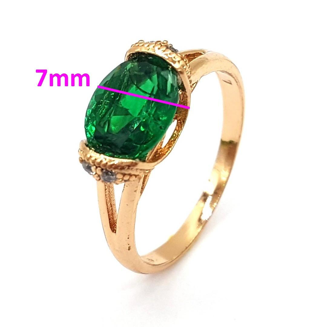 Кольцо позолота, Зеленый цирконий, р.17,5