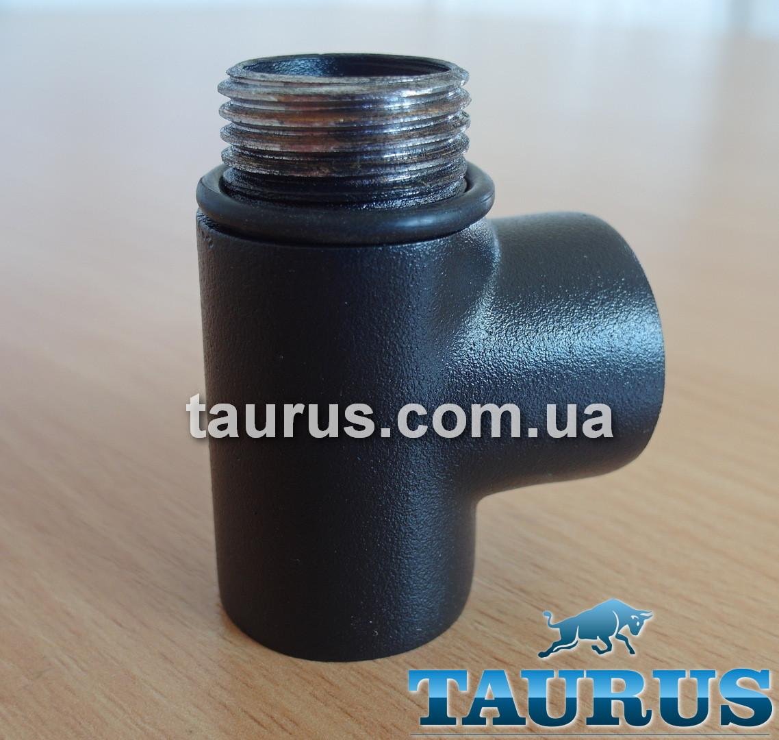 """Тройник черный Premium 1/2"""" с уплотнительным кольцом для полотенцесушителей комбинированных (электро+вода) 1/2"""