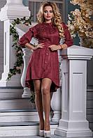 Замшевое ассиметричное платье с вышивкой 44-50 размера, фото 1