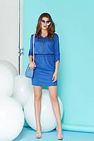 Красивое платье на змейке мини полу облегающее рукав три четверти голубое