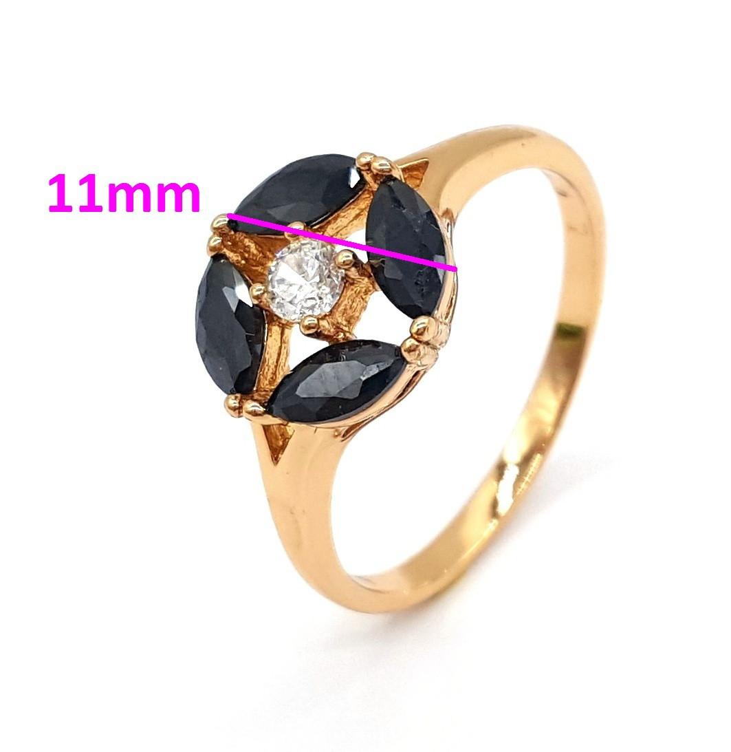 Кольцо позолоченное с черным цирконием, p. 17 Xuping, 18К