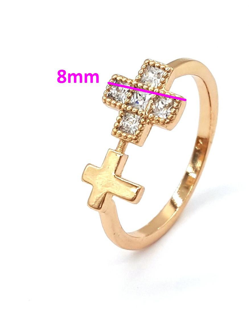 Кольцо два Крестика с цирконием, позолота, р.16,5, р.17,5, р.18, р.18,5