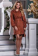 Замшеве асиметричне плаття сорочка з вишивкою 42-48 розміру, фото 1