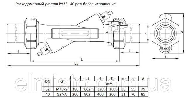 Габаритные размеры теплосчетчика Ду32-Ду40 муфта
