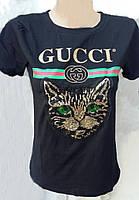 Молодежная футболка с надписью GUCCI, украшенная пайетками