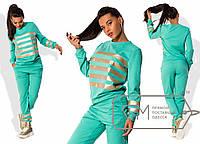 Спорткостюм свободный из двунитки с отделкой полосами из золотой экокожи - свитшот и штаны 7649