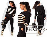 Спорткостюм свободный из двунитки с отделкой полосами из золотой экокожи - свитшот и штаны 7647