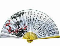 """Веер настенный """"Сакура с бамбуком на голубом фоне с иероглифами"""""""