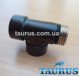 """Тройник черный 1/2"""" для комбинированных полотенцесушителей (водяное + электрический ТЭН), проходной, black"""