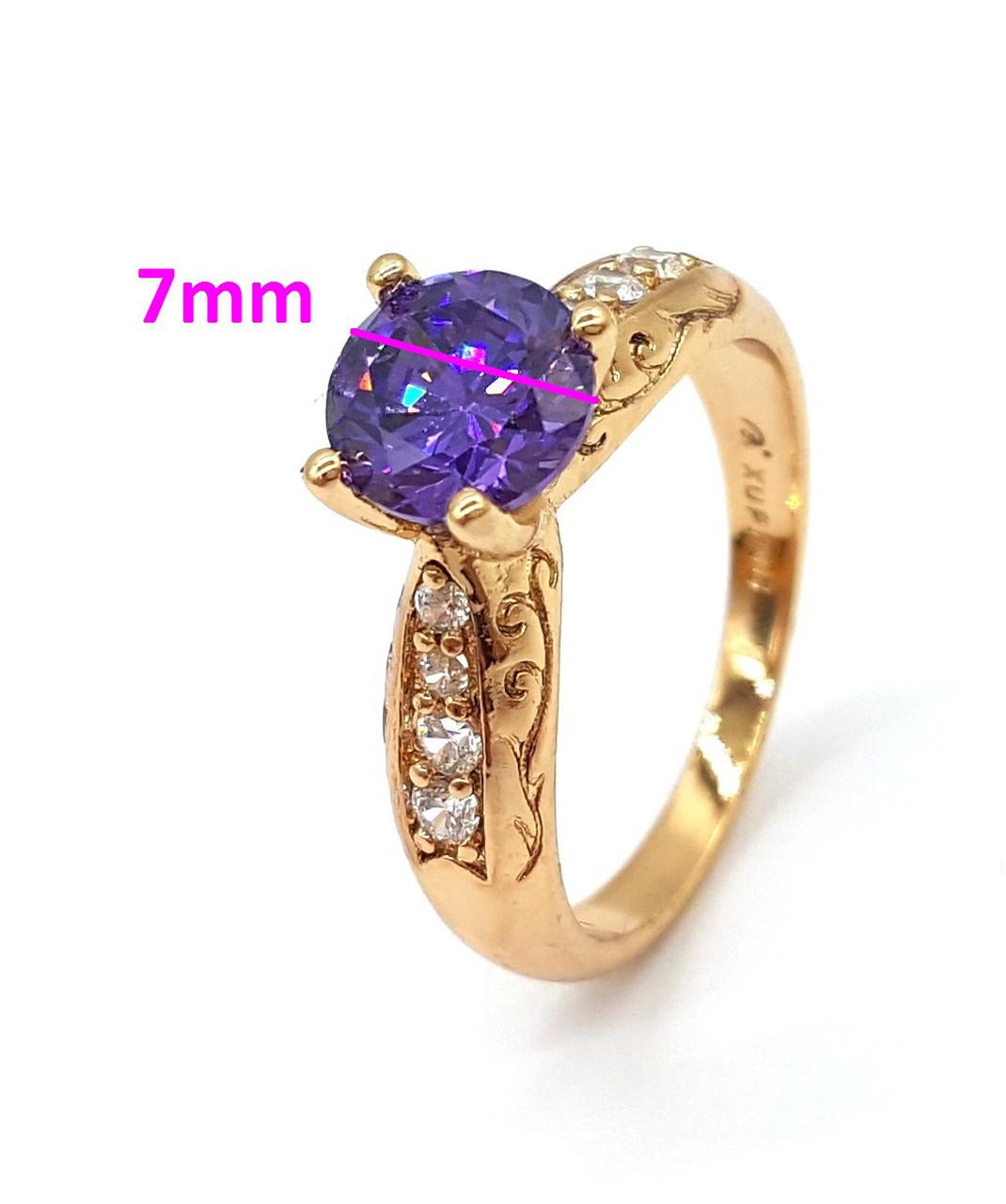 Кольцо позолота с фиолетовым цирконием, р.17
