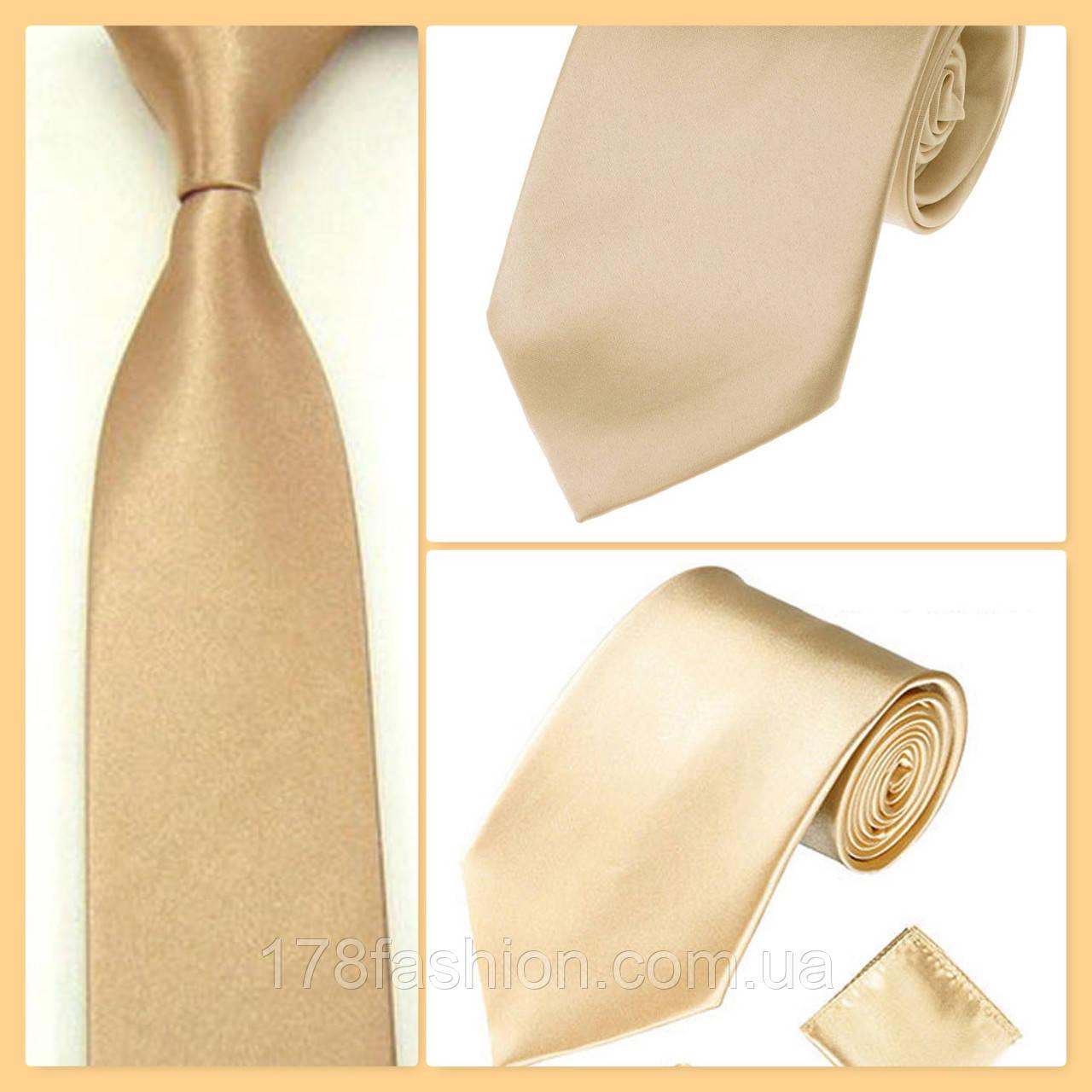 Стильный и модный детский однотонный атласный галстук №7 шампань