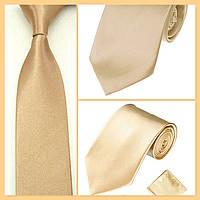 Стильный и модный детский однотонный атласный галстук №7 шампань, фото 1