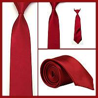 Стильный и модный детский однотонный атласный галстук №10 бордо