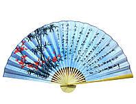 """Веер настенный """"Сакура с бамбуком на голубом фоне с иероглифами"""" шелк"""