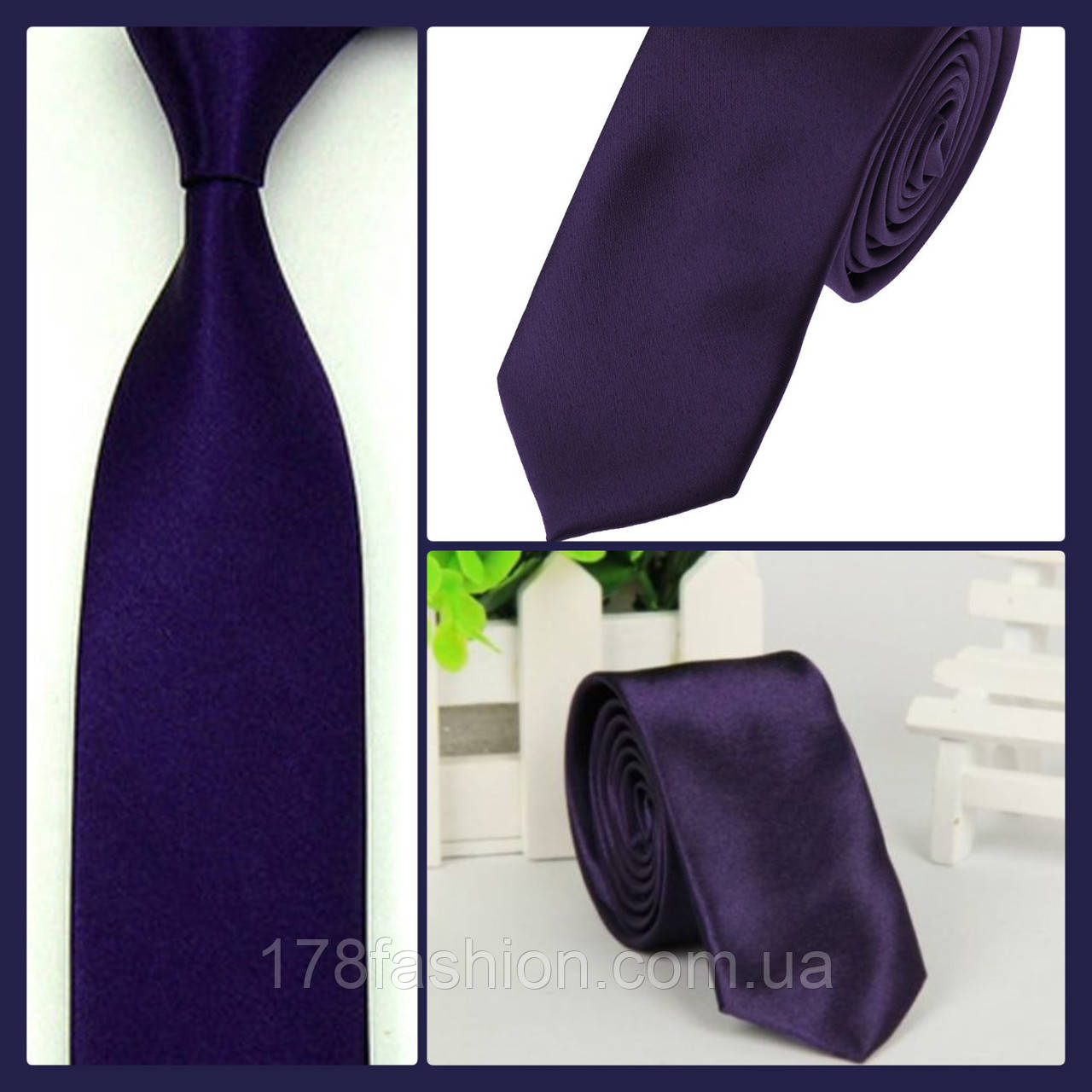 Стильный и модный детский однотонный атласный галстук №11 темно фиолетовый