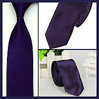 Стильный и модный детский однотонный атласный галстук №11 темно фиолетовый, фото 1