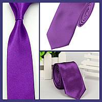 Стильный и модный детский однотонный атласный галстук №12 фиолетовый