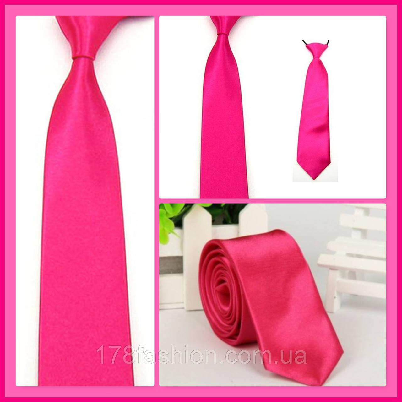 Стильный и модный детский однотонный атласный галстук №15 малиновый