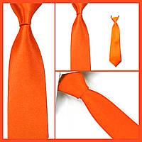Стильный и модный детский однотонный атласный галстук №17 оранжевый