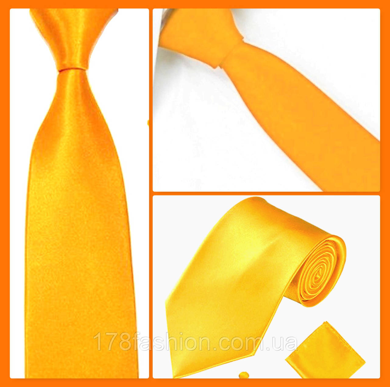 Стильный и модный детский однотонный атласный галстук №18 золотой