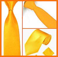 Стильный и модный детский однотонный атласный галстук №18 золотой, фото 1