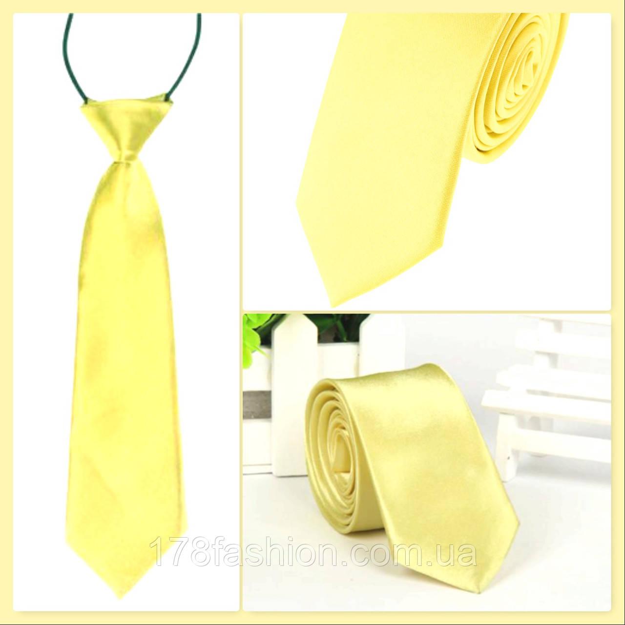 Стильный и модный детский однотонный атласный галстук №19 нежно желтый