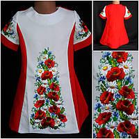 """Вышитое платье для девочки """"Полевые цветы"""", габардин, рост 146-152 см., 410/370 (цена за 1 шт+ 40 гр.), фото 1"""