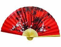 """Веер большой настенный """"Сакура с бамбуком на красном фоне"""""""