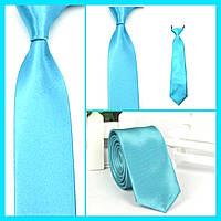 Стильный и модный детский однотонный атласный галстук №26 бирюзовый