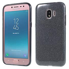 Чехол накладка для Samsung Galaxy J2 2018 J250F силиконовый 3-в-1, Remax Case GLITTER, черный