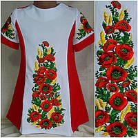 """Вышитое платье для девочки """"Украинские маки с колос габардин, рост 116-134 см., 390/350 (цена за 1 шт+ 40 гр.), фото 1"""