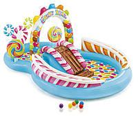 Детский надувной центр Intex 57149 «Сладости», 259 х 191 х 130 см, с шариками, горкой и фонтаном